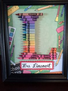 Teacher Gift - Crayon Letter Framed Art Letter L