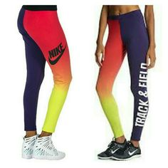 """NWT NIKE track and field leggings New with tags NIKE  Stretch legging  Elastic waistband  Two tone pattern  """"NIKE"""" and """"Track & Field"""" lettering on sides  Lightweight stretch fabric for comfort FIT: Stretch fit FABRIC: 57% cotton 32% polyester 11% spandex Nike Pants Leggings"""