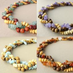 Braided Jewelry - strands of gemstone and wood beads