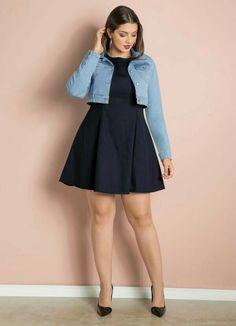 Moda Plus-size - Vestido+Jaquetinha jeans