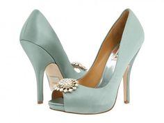 Absolutely gorgeous...my dream wedding shoes  Badgley Mischka Lissa Seafoam Satin Pump
