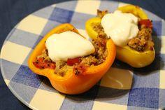 Turkey Quinoa Stuffed Peppers on theadventuresofnutrigirl.wordpress.com