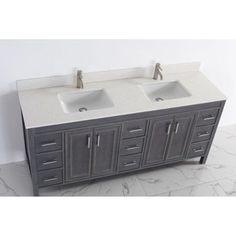 Corniche 60 White Double Sink Vanity By Studio Bathe upstairs