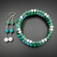 Turquoise, agate, chrysocolla gemstone bracelet and earring set £23.00