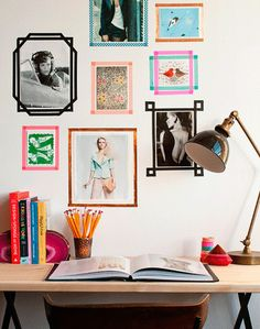 Washi tape makes a cheap and adorable alternative to photo frames