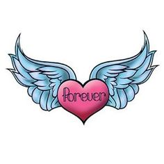 Picture of Winged Forever Heart Temporary Tattoo