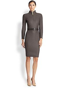 """Akris Wool Mock Turtleneck Dress An expertly tailored piece in woven Italian stretch wool, crafted with vented cuffs and a sleek mock neckline. Mock turtleneck Concealed front zip Bracelet sleeves Vented cuffs Included leather belt Stretch silk lining Concealed back zip About 23"""" from natural waist Wool/elastane Dry clean Imported of Italian fabric Model shown is 5'10"""" (177cm) wearing US size 4."""