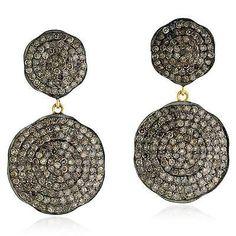 nice 18k Gold.925 Sterling Silver Diamond Dangle Earrings Pave Jewelry