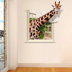 3D Lovely Giraffe Wall Sticker Decal Animal Wallpaper Living Room Home Decor Art Mural