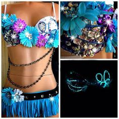 These Sexy Festival Outfits demand attention, and you're sure to get it if you're rockin one of these gorgeous little numbers at your next festival or rave! Music Festival Outfits, Music Festival Fashion, Festival Costumes, Rave Festival, Danza Tribal, Rave Costumes, Halloween Costumes, Rave Gear, Edm Outfits
