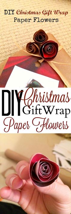 DIY Christmas Gift Wrap Paper Flowers These DIY paper flowers are made out of wrapping paper and are so cute and easy! It's a great way to spruce up your wrapping without spending more! Mason Jar Crafts, Mason Jar Diy, Christmas Gift Wrapping, Diy Christmas Gifts, Christmas Ideas, Christmas Recipes, Holiday Crafts, Magical Christmas, Christmas Projects