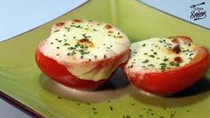 Tomate relleno de mozzarella gratinada al horno. Un aperitivo rápido y fácil