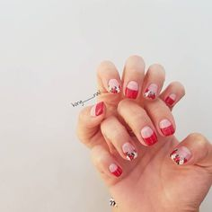 #네일 #레드 #프렌치 #꽃 #발랄한 by 콩네일 - 네일하기 전에, 젤라또 Cherry Nails, Red Nails, Negative Space Nails, Mini Paintings, Nail Arts, Pedi, Flower Art, Nail Designs, Beauty