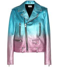 Saint Laurent - Perfecto en cuir métallisé bleu et rose