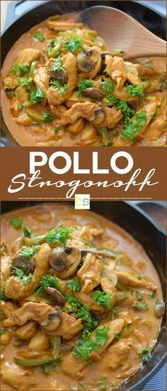 Fácil, rápido y rico pollo strogonoff,con champiñones, pimentón, cebolla, crema de leche, pasta de tomate, perejil para decorar. En bizcochosysancochos