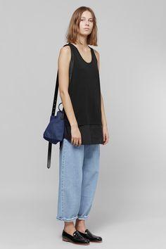 MM6 Maison Margiela Small Denim Shoulder Bag + Long Tank Top + Washed Denim Jeans | Dieppa Restrepo Serge Loafers | MYCHAMELEON.COM.AU