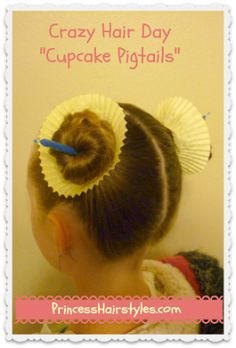"Crazy Hair Day Hairstyle ""cupcake pigtails"" for Spirit Week Cute Hairstyles For Kids, Little Girl Hairstyles, Hairstyles For School, Cool Hairstyles, Toddler Hairstyles, Latest Hairstyles, Crazy Hair Day At School, Crazy Hair Days, Crazy Hair Day For Teachers"