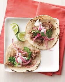 Quick-pickled red onions cut through the richness of pork. To make, toss some thinly sliced red onion with red-wine vinegar and let sit until softened, about 15 minutes.