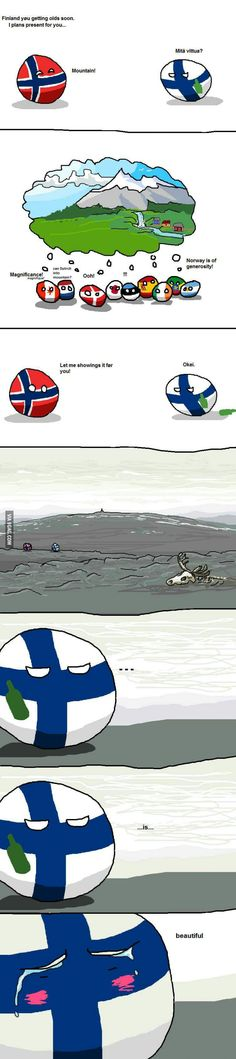 Countryball Finlands doesn't like neigbours.