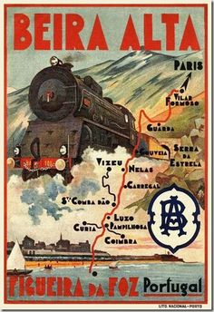 Railway travel poster from Portugal in the C. Vintage Advertising Posters, Retro Poster, Poster Ads, Vintage Travel Posters, Vintage Advertisements, Vintage Ads, Poster Prints, Poster City, Train Posters