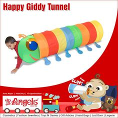 Active kids will enjoy crawling through a rainbow of color in this bright tunnel.  Visit: www.angelsfamilystop.com  #MakeupTip #AngelsFamilyShop #Cosmetics #FashionJewellery #GiftArticles #HandBags #JustBorn #Lingerie #ToysNGames