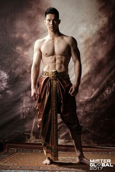 Mister Global 2017 - International male pageant with 28 contestants in Thai traditional costume portrait. Traditional Thai Clothing, Traditional Outfits, Thailand Fashion, Thai Fashion, Barefoot Men, Male Fashion Trends, Photo D Art, Travis Fimmel, Poses