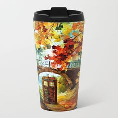 starry Abandoned phone box Under the bridge METAL TRAVEL MUG #mug #metaltravelmug #metal #tardisdoctorwho #starrynight #davidtenant #phonebox #phonebooth #publiccallbox #vangogh #halloween #bridge #underbridge #painting #digitalart