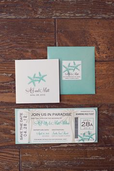 Aqua and starfish destination wedding invitation suite by A+P Designs, photo by reign7photo.com