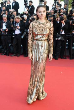 Model Thylane Blondeau attends the 'Okja' premiere during the 70th annual Cannes Film Festival at Palais des Festivals on May 19 2017 in Cannes France