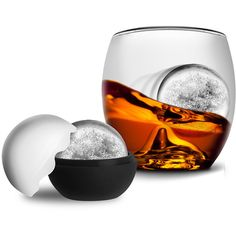 Groovy Chimp On The Rock Whiskey Glass & Ice Ball (258.620 IDR) ❤ liked on Polyvore featuring home, kitchen & dining and filler