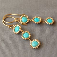 Delicate Beaded Turquoise Dangle Earrings in Gold Fill