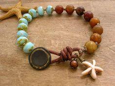 Knotted bracelet - Seashore - Boho jewelry, leather bracelet beach jewelry, dangles, bohemian, sundance, starfish, sky blue rustic on Etsy, $38.00