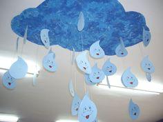 Movil gotas de lluvia con cartulina | Manualidades Infantiles