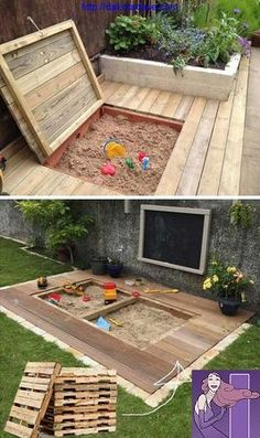 17 Cute Upcycled Pallet Projects for Kids Outdoor Fun – Children love to play in the sand! Here we found a great DIY idea on how to create a little childre – - 17 Cute Upcycled Pallet Projects for Kids Outdoor Fun - Children love to play i. Outdoor Fun For Kids, Backyard For Kids, Backyard Patio, Kids Yard, Wedding Backyard, Pergola Patio, Cheap Backyard Ideas, Small Yard Kids, Pallet Patio Decks