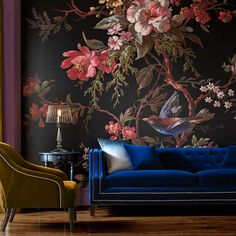Spectacular, if it actually looks that beautiful. Love the sofa, too! || Venetian Floral Mural by Graham & Brown