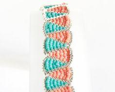 Delica Seed Bead Bracelet Beadwoven in Silver Matt Turquoise