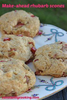 Make-ahead rhubarb scones – Constantly Cooking Rhubarb Cookies, Rhubarb Scones, Rhubarb Desserts, Rhubarb Recipes, Rhubarb Ideas, Fruit Scones, Baking Recipes, Dessert Recipes, Scone Recipes