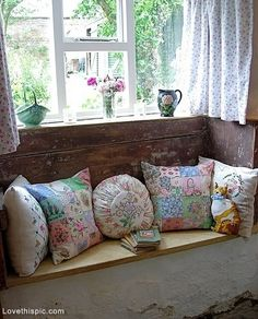 Shabby Chic Window Seat colorful vintage window pastel decorate shabby chic pillows throw seat