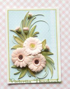 Gerbera daisies - Birthday quilling Card - Love quilling card - Easter quilling card  - QuillyVicky