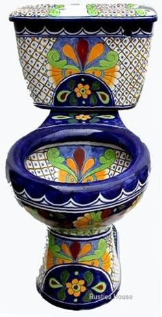new house options Old European bathroom set consisting of Mexican toilet, talavera sink, wooden seat and talavera accessories. Toilet itself as well as optional products are decorated Art Pierre, Oeuvre D'art, Painted Furniture, Sweet Home, Pottery, House Design, Home Fashion, Cool Stuff, Beautiful