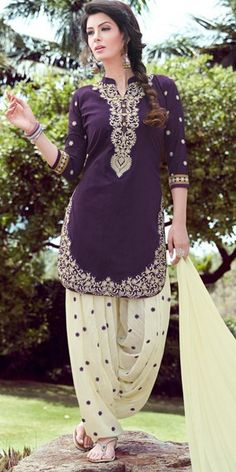 Exotic Purple And Off-White Cotton Patiala Suit.