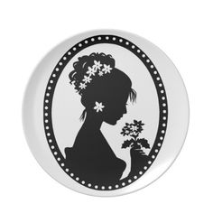 Victorian Cameo Silhouette Party Plate