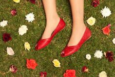 #beautiful red vegan leather flats #shoes