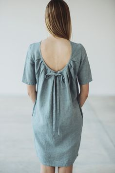 Natural Linen Dress With Pleated Back Motumo 14S9 by MotumoLinen