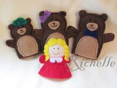 Goldilocks and tree bears finger puppets, cute
