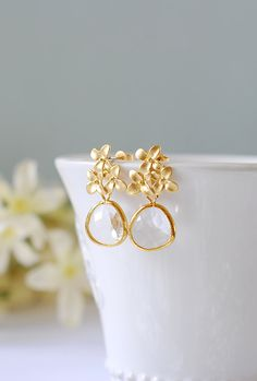 Kristall Ohrringe Gold lila Blume Blüte 925er Silber Post Ohrringe Blumeohrringe Tropfen Ohrringe Hochzeit Braut Ohrringe