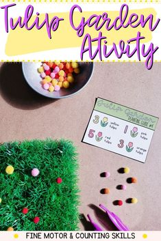 Count a tulip garden with this fun and engaging number and fine motor activity. Use this with your kindergarten students during centers, independent practice, morning work, morning tubs or for your sensory bin. Motor Skills Activities, Literacy Skills, Tulips Garden, Kindergarten Centers, Spring Theme, Morning Work, Sensory Bins, Childhood Education, Task Cards