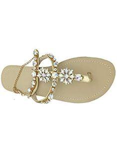 c736ee80f7ebbd Women Rhinestone Chain Gladiator Flat Sandals