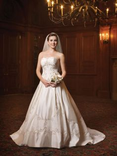Satin Strapless Embroidery Bodice Ball Gown Wedding Dress
