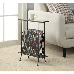 Convenience Concepts Wyoming Wrought Iron Glass Top Side Table